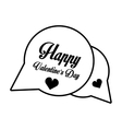 happy valentines day card bubble hearts outline vector image