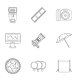 Photographic icons set outline style vector image