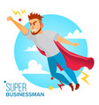 super businessman character red cape vector image