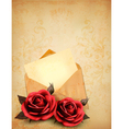 Two roses in front of an old envelope with a vector image vector image