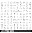 100 hands icons set outline style vector image