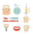 dental icons set eps10 vector image