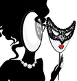 lady-mirror with lace half mask vector image