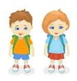 Boy and girl with backpacks School kids vector image