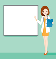 Woman Doctor Holding Clipboard With White Board vector image