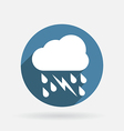 cloud rain lightning Circle blue icon with shadow vector image