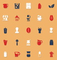 Coffee and tea classic color icons with shadow vector image