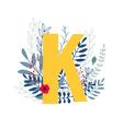 floral alphabet letter k vector image