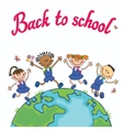 Globe kids Earth day Pupil school jumping vector image