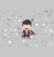 happy face businessman hello business doodles vector image