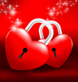 Locked Heart on red background vector image