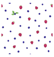 raspberry blueberry leaves pattern vector image