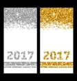 Shiny Festive Cards with Snowflakes and Sparkles vector image
