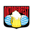 Sign logo for Oktoberfest Womens boobs and mug of vector image