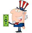 Uncle Sam With Holding A Dollar Bill vector image