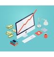 Growth chart on the monitor screen vector image