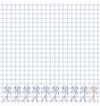 Ten men as doodles on squared paper vector image