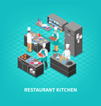food court kitchen composition vector image