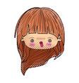 colored crayon silhouette of kawaii head cute vector image