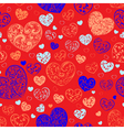 Seamless pattern of hearts vector image