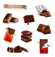 Chocolate bars and pieces set vector image vector image