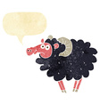 cartoon black sheep with speech bubble vector image