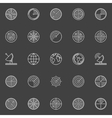 White radar line icons vector image