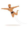 cartoon muscularity wrestler in high flying action vector image