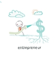 entrepreneur watering from a hose Dollar vector image