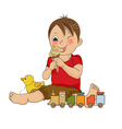 funny boy with icecream vector image