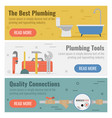 three banner for plumbing service vector image