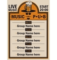 poster for the pub with live music vector image vector image