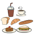 Food and beverage on white vector image vector image