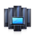 Server Rack Laptop Realistic Isolated vector image