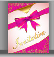 a card with a pink ribbon for an invitation vector image
