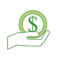 business hand holding coin dollar money cash vector image