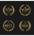 Golden laurel wreath labels vector image