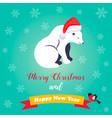 holiday greeting card with cute polar bear vector image