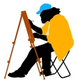 Silhouette artist at work on a white background vector image
