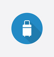 travel bag Flat Blue Simple Icon with long shadow vector image