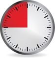 Clock with red 15 minute deadline vector image
