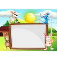 Paper template with rabbits in background vector image vector image