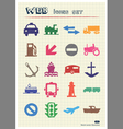 Sea work road transport and signs vector image vector image