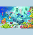 cartoon colorful marine underwater life background vector image