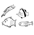 fish collection outline vector image vector image