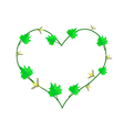 Vine Flower and Leaves in Beautiful Heart Shape vector image