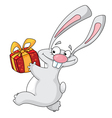 rabbit with gift box vector image