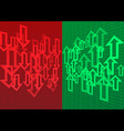 Arrow Up and Down Abstract Background Red Green vector image