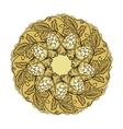 Hand drawn mandala with hop floral ornament vector image
