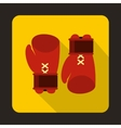Boxing gloves icon flat style vector image